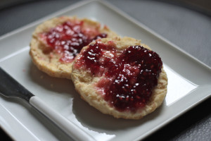 Buttered biscuits with jam. Yum.